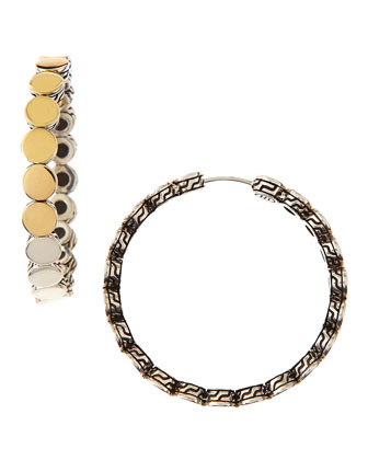 Dot Silver & Gold-Plate Medium Hoop Earrings