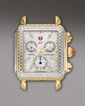 Deco Diamond Watch Head, Two-Tone