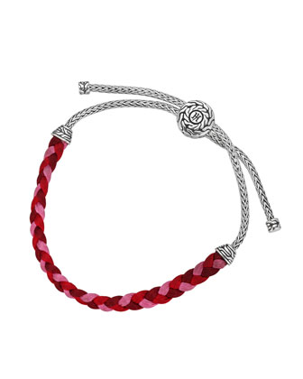Classic Chain Silver-Knot Pink Cord Bracelet
