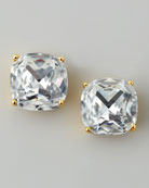 Small Square Stud Earrings, Clear