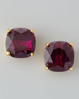 Small Square Stud Earrings, Amethyst