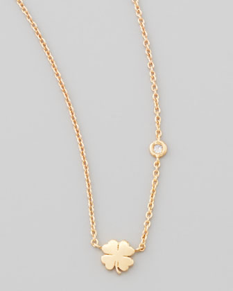 Clover Bezel-Diamond Pendant Necklace
