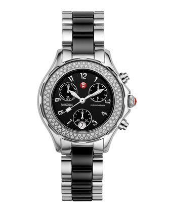 Tahitian Ceramic and Stainless Steel Diamond Watch, Black