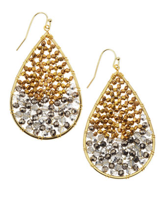 Two-Tone Beaded Teardrop Earrings, Silver/Gold