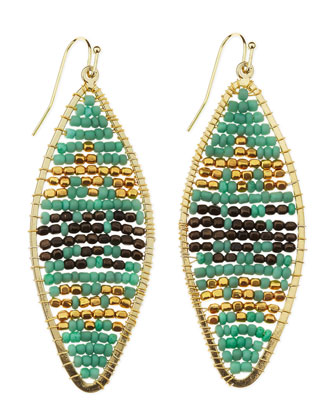 Geometric-Beaded Drop Earrings, Turquoise/Gold
