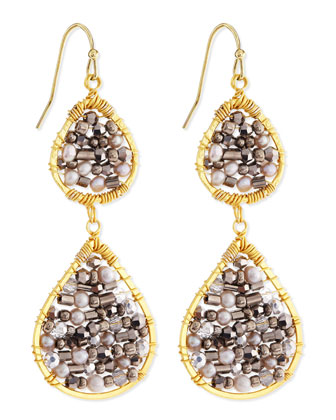 Beaded Double-Drop Earrings, Silver/Gold