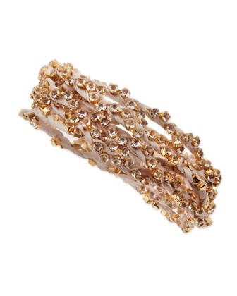 Rhinestone Ribbon Wrap Bracelet, Cream
