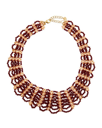 Beaded Scalloped Bib Necklace, Bordeaux/Cream