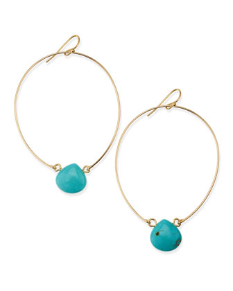 Teardrop-Crystal Wire Hoops, Turquoise