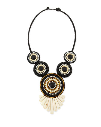 Tribal Rope Bib Necklace, Black