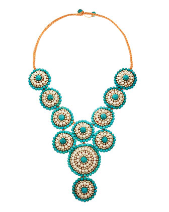 Beaded-Rope Bib Necklace, Turquoise