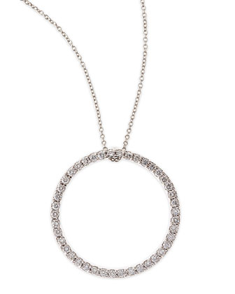 18k White Large Diamond Circle Pendant Necklace