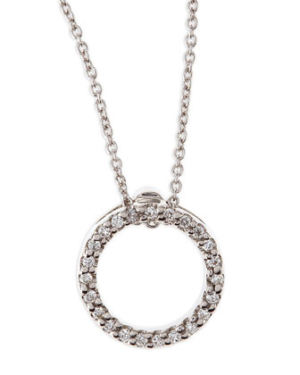 18k White XS Diamond Circle Pendant Necklace