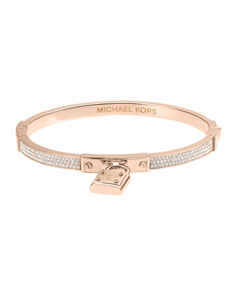 Pave Hinge Padlock Bangle, Rose Golden
