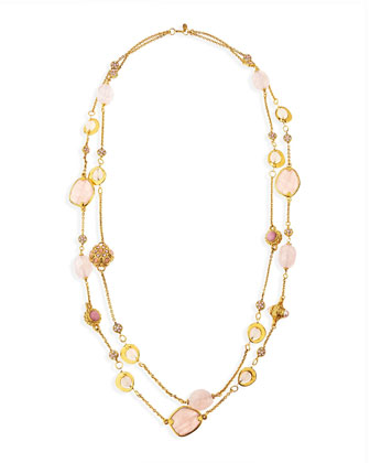 2-Strand Long Pink Quartz Necklace, 42