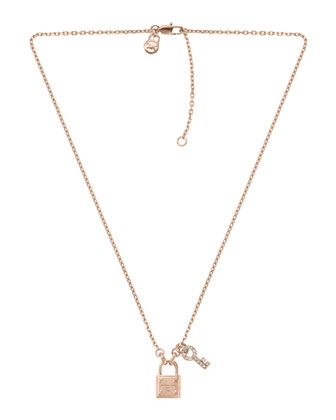 Lock & Key Pendant Necklace, Rose Golden