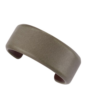 Thin Shiny Leather Cuff, Military Green