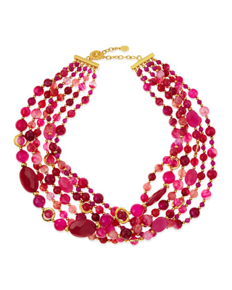 6-Strand Twisted Agate Necklace, Hot Pink