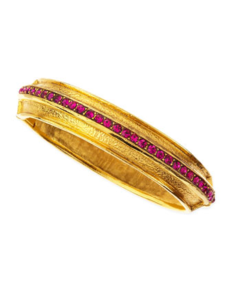 Fuchsia Pave Crystal Gold-Plate Bangle