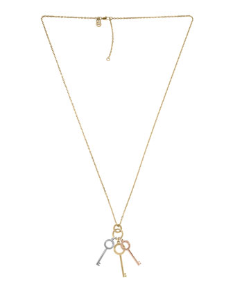 Key Charms Necklace, Multicolor
