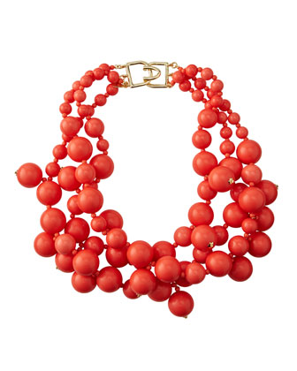 Beaded Cluster Necklace, Coral