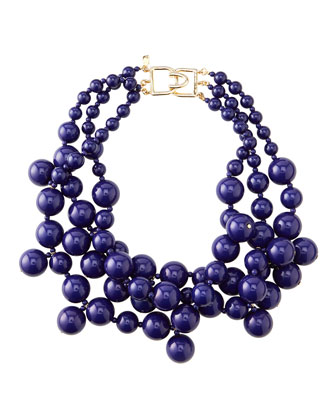 Beaded Cluster Necklace, Blue