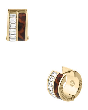 Tortoise/Baguette Huggie Earrings, Golden