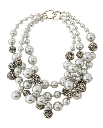 Pave Crystal Beaded Cluster Necklace, Silver