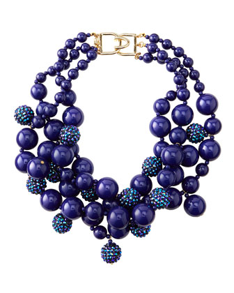 Pave Crystal Beaded Cluster Necklace, Blue