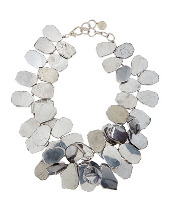 Silver-Plated Quartz Cluster Necklace