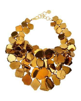 Gold-Plated Quartz Cluster Necklace