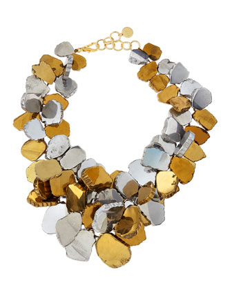 Gold & Silver-Plated Quartz Cluster Necklace