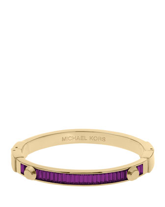 Astor Baguette Hinge Bangle, Iris/Golden
