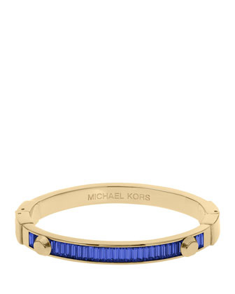 Astor Baguette Hinge Bangle, Sapphire/Golden