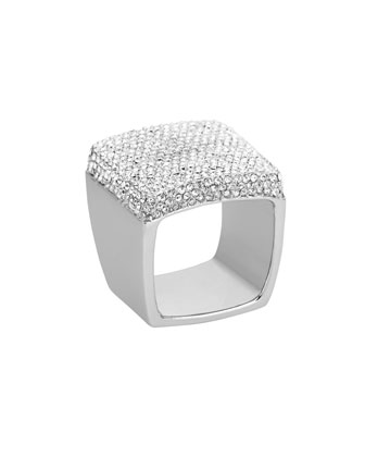 Pave Signet Ring, Silver Color