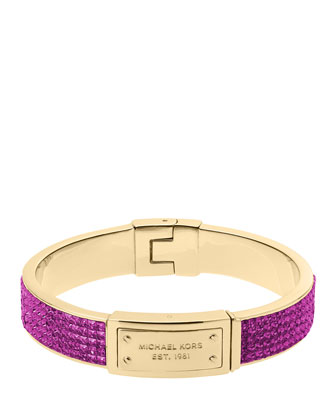 Pave Plaque Bangle, Berry/Golden