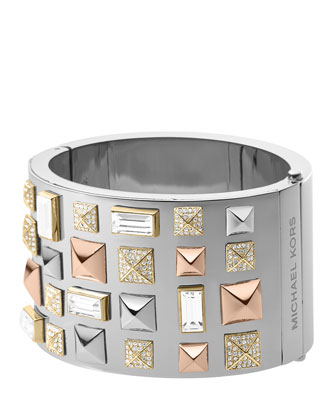 Pyramid-Stud Bangle, Multicolor