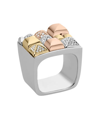 Tri-Tone Pyramid Ring, Multicolor