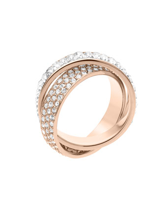 Pave/Baguette Eternity Ring, Rose Golden