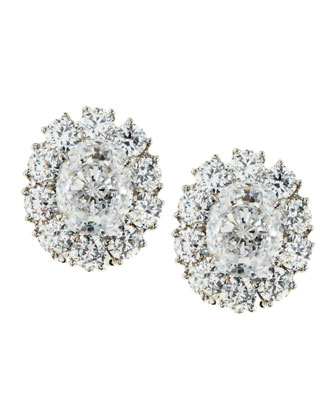 Oval-Cut Cubic Zirconia Stud Earrings, 7.5 TCW