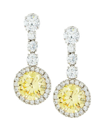 Round Canary Cubic Zirconia Drop Earrings, 7.5 TCW