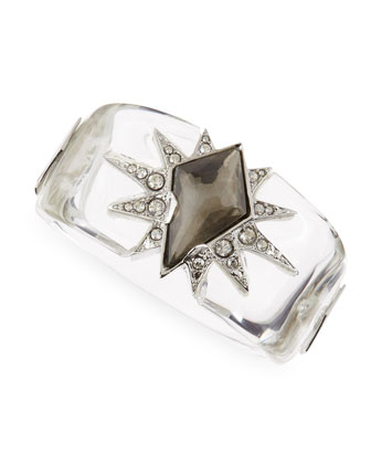 Large Lucite Lone Star Bangle, Clear
