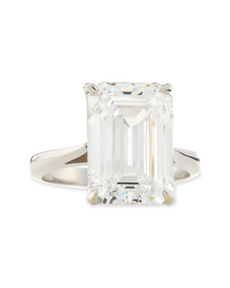 Emerald-Cut Cubic Zirconia Solitaire Ring, 9.0 TCW