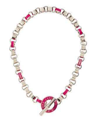 Enamel Toggle Necklace, Pink