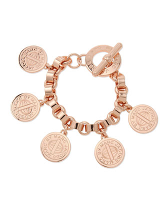 Toggle-Clasp Charm Bracelet, Rose Golden