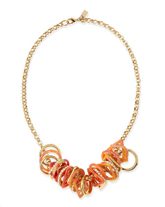 Geometric-Link Bib Necklace, Orange