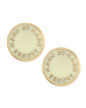 Enamel Logo Disc Stud Earrings, Cream/Golden