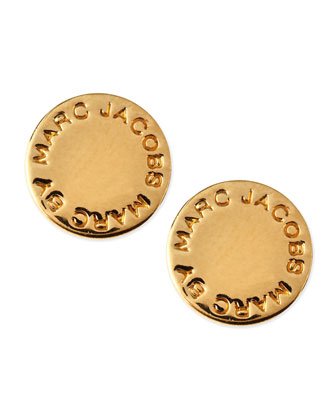 Logo Disc Stud Earrings, Yellow Golden