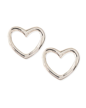 Love Heart Stud Earrings, Silvertone