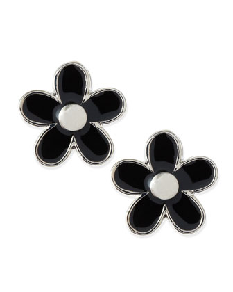 Daisy Stud Earrings, Black/Silvertone